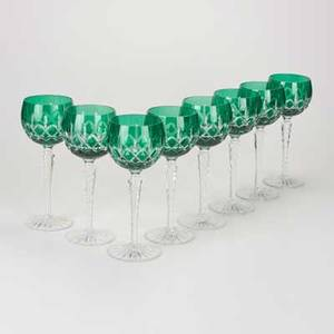 Ajka crystal eight longstemmed wine glasses hungary 20th c emerald cut to clear glass five labels each 8 14 x 3 14 dia