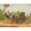 After french prints 19th20th c le cabriolet a pompe and le ponychaise from paintings by henri dainecy montpezat and engraved by leblanc for the series chevaux et voitures published by m