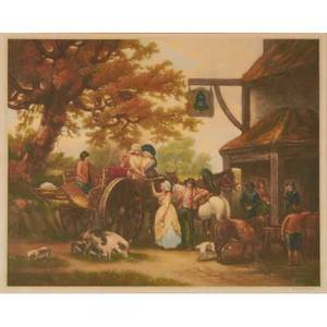 Clifford r james american 20th c mezzotint of villagers and haycart 1929 framed signed published by alfred bell and co lld 23 34 x 28 18 sheet