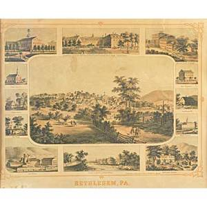 Views of bethlehem pennsylvania 19th20th c two prints from the west and one untitled framed 15 12 x 18 12
