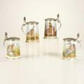Haviland franklin porcelain four limited edition game bird steins limoges france 19811983 cast pewter and porcelain designed by basil ede all marked 9 x 7 x 5 14