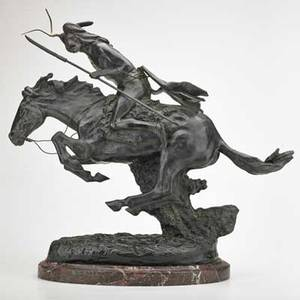 After frederick remington cheyenne bronze on marble base 20th c signed 22 x 24 x 9