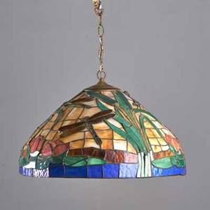 Schlitz slag glass chandelier with cattails together with leaded glass lampshade 20th c both with etched signatures chandelier with chain 25 34 x 24