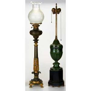 Traditional lighting two table lamps victorian banquet lamp oil with original fittings and balustershaped table lamp usa 19th20th c glass mixed metal wood all unmarked tallest 36
