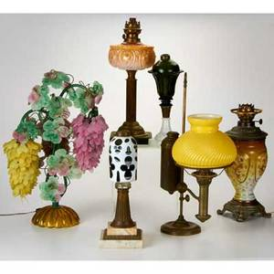 Traditional lighting six table lamps four oil lamps two without fittings student lamp and satin glass wisteria lamp two electrified usa 19th20th c all unmarked mixed metal glass marble