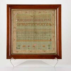 English sampler framed needlework by mary brumby 1799 silk on linen signed and dated overall 15 x 15 x 1