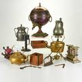 Kitchenware group of metal and wooden items including pewter or brass pitchers and kettles early electric toaster etc 18th20th c most unmarked tallest 17 34