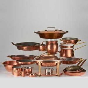 Copper kitchenware twentytwo pieces including joseph heinrichs covered chafing dish lined in sterling silver bainmarie colander pitchers saucepans etc earlymid20th c copper sterling sil