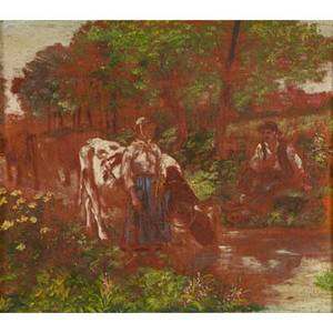 European genre paintings 18th c oil on canvas of shepherds and cows at a stream signed carus together with oil on panel of dutch peasant children unsigned largest 10 58 x 8 12
