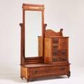 Step down dresser including beveled mirror ca 1900 golden oak 77 x 70 x 19