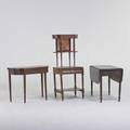 Traditional furniture group four pieces 19th c  pembroke dropleaf table hepplewhite card table country washstand sewing table mixed woods game table 29 12 x 35 14 x 17