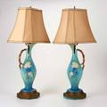 Roseville pair of apple blossom ewers mounted as lamp bases zanesville oh 1940s glazed earthenware unmarked 28 12 x 7 14 x 7 14 with shade