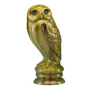 Galle rare majolica glazed ceramic owl with glass eyes nancy france 1890s signed galle to base 12 34 x 5
