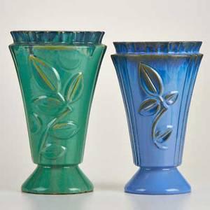 Fulper two art deco vases with foliate motifs flemington nj early 1930s glazed earthenware diestamped marks taller 12 34