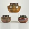 Fulper three shouldered jars two with art deco designs flemington nj ca 19101916 glazed earthenware two prang marks one rectangular ink mark largest 9 12 dia