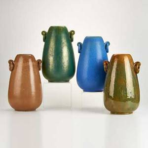 Fulper four vases with ring handles one with drill hole flemington nj ca 19161928 glazed earthenware all marked tallest 13