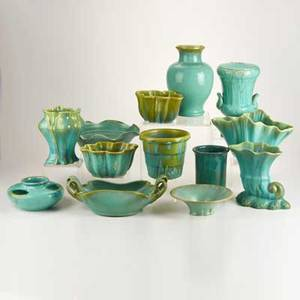 Fulper etc thirteen pieces eleven fulper and two associated including two planters six vases four bowls lamp base flemington nj late 1920s glazed earthenware most marked tallest 9 34