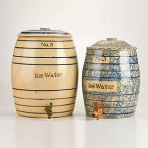 Fulper two sanitary water coolers one spongedecorated flemington nj ca 1910 glazed earthenware signed fulper pottery co  flemington nj no 3 and no5 larger 15 12 x 13 dia
