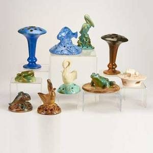 Fulper ten pieces eight figural flower frogs two trumpet fan vases flemington nj ca 19101928 glazed earthenware most marked tallest 8