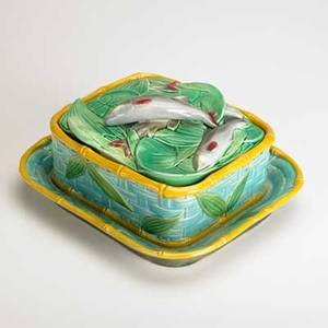 Victorian pottery co majolica sardine box with basketweave pattern to base england late19th c glazed earthenware marked 3 x 8 x 7