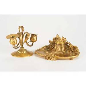 European two pieces late19th  early20th c gilt bronze inkwell floriform candelabrum inkwell marked a marionnet  bronzes  france  paris  dpos candelabra marked orivit  081  germa