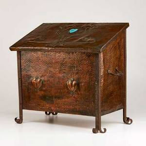 Arts and crafts firebox britain early20th c hammered copper with glazed ceramic cabochon unmarked 21 34 x 22 x 13
