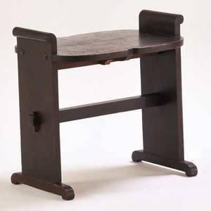 Arts  crafts window seat usa ca 1920 ebonized oak unmarked 21 x 21 12 x 14