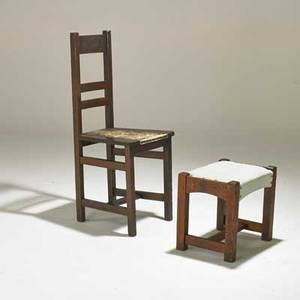 Arts and crafts hall chair and footstool usa early20th c oak tackedon upholstery unmarked chair 30 x 16 x 17