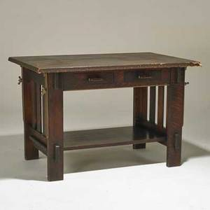 Arts and crafts draftsmans table with adjustable top and two drawers usa early20th c quartersawn oak patinated steel tackedon leatherette unmarked 30 x 45 12 x 30