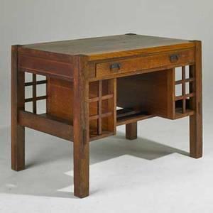Arts and crafts singledrawer desk usa early 20th c quartersawn oak brasswashed hardware unmarked 30 x 42 x 26