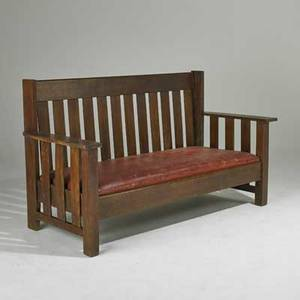 Arts and crafts droparm settle usa early 20th c quartersawn oak and dropin spring seat unmarked 39 x 69 12 x 30 12