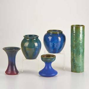 Fulper five pieces flemington nj 1910late 1920s two bulbous vases cylindrical vase flared vase chalice glazed earthenware most marked tallest 11