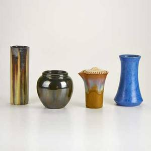 Fulper four pieces flemington nj ca 19101922 glazed earthenware three vases cocktail shaker all marked tallest 8 34