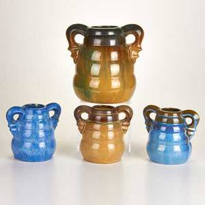 Fulper four twohandled ribbed vases flemington nj ca 19221935 two racetrack marks two horizontal diestamped marks tallest 9 14