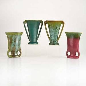 Fulper four twohandled vases flemington nj ca 19101928 glazed earthenware most marked tallest 8 12