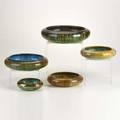 Fulper five center bowls flemington nj ca 19101916 glazed earthenware four rectangular ink marks one prang mark largest 12 12 dia