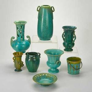 Fulper eight pieces flemington nj most after 1928 six vases ice bucket bowl glazed earthenware two racetrack marks six horizontal diestamped marks tallest 12 14