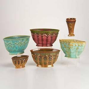 Fulper six pieces flemington nj 1910s five fan vases one flaring vase with organic motif glazed earthenware all marked tallest 5 12