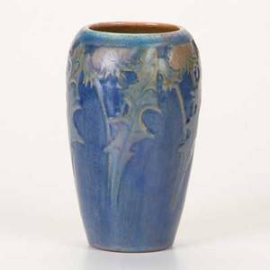Newcomb college cabinet vase with floral decoration new orleans la 1929 nc238rm2 illegible cipher 6 34 x 4 dia