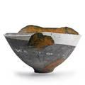 Wayne higby b 1943 large landscape series rakufired bowl alfred ny 1980s chop mark 11 12 x 20