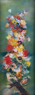 Karole Andre Abstract Floral Oil on Canvas