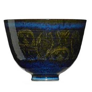 Edwin scheier 1910  2008 mary scheier 1908  2007 glazed ceramic bowl with figures and fish signed 5 x 6 34