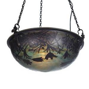 Daum cameo glass ceiling fixture nancy france 1900s glass iron single socket marked daum nancy bowl 7 x 16 total 31 tall