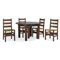 Gustav stickley dining set fivelegged table and four ladderback chairs eastwood ny ca 1910 paper label on table chairs unmarked 28 12 x 48 with three 12 leaves 35 34 x 17 x 16 12