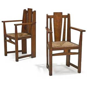 Arts  crafts pair of armchairs with rush seats ca1910 unmarked 38 x 25 x 19