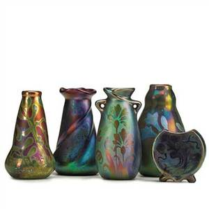 Jacques sicard 1863  1925 weller five bud vases with floral designs zanesville oh ca 19031917 all marked weller sicard tallest 5 x 3 smallest 2 12 x 2 12