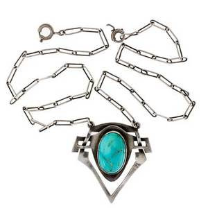 Kalo pendant chicago il ca 1910 sterling silver turquoise stamped sterling kalo pendant 1 12 x 1 14 chain 17
