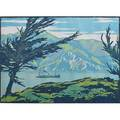 School of william rice woodblock print of glacier lake usa ca 1920 framed and matted unmarked image 6 14 x 8 34