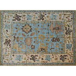 Oushak style contemporary roomsize handknotted rug geometric floral design on french blue and oatmeal ground unmarked 10 1 x 13 9