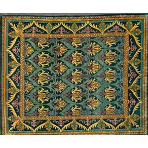 Style of william morris contemporary roomsize handknotted rug allover floral pattern on forest green ground unmarked 12 x 14 6